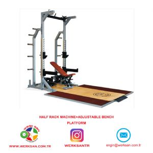 HALF RACK MACHINE +ADJUSTABLE BENCH + PLATFORM